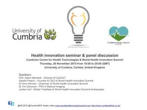 Health innovation seminar November 2015